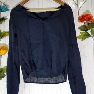 Abercrombie & Fitch navy blue boho top